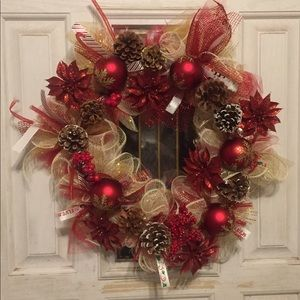 14 inch red and gold Christmas wreath